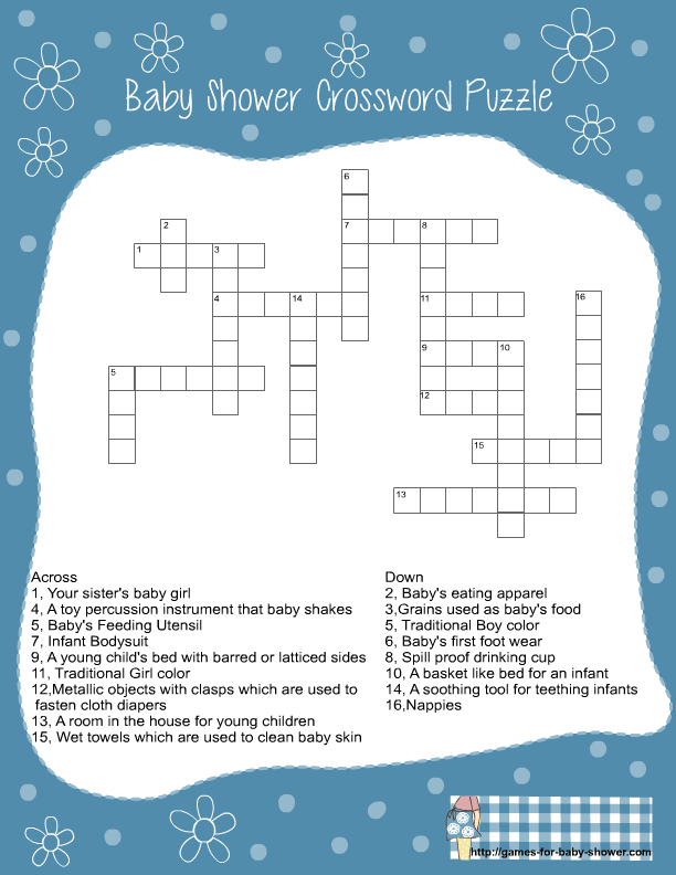 Free Printable Baby Shower Crossword Puzzle Game In Blue Color