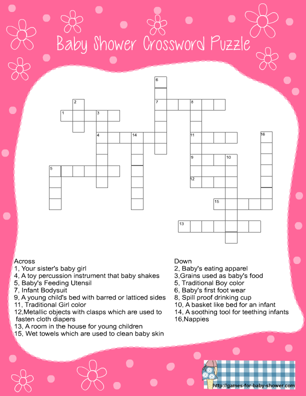 Beautiful Free Printable Baby Shower Crossword Puzzle Game In Pink Color
