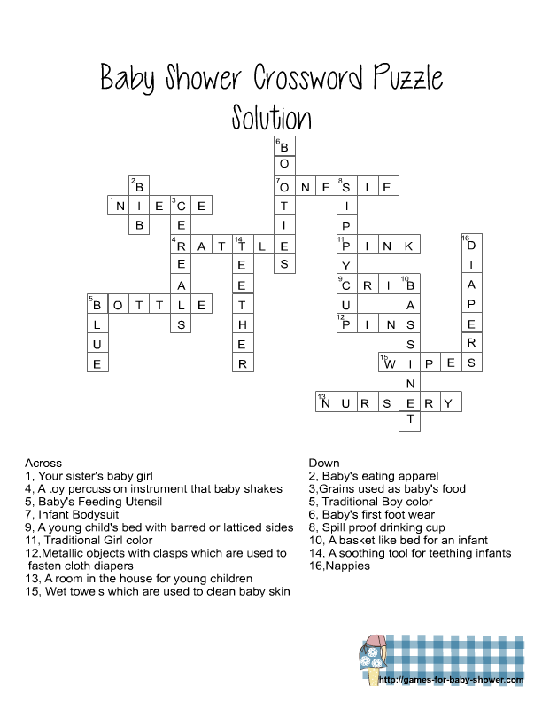 Free Printable Baby Shower Crossword Puzzle Game