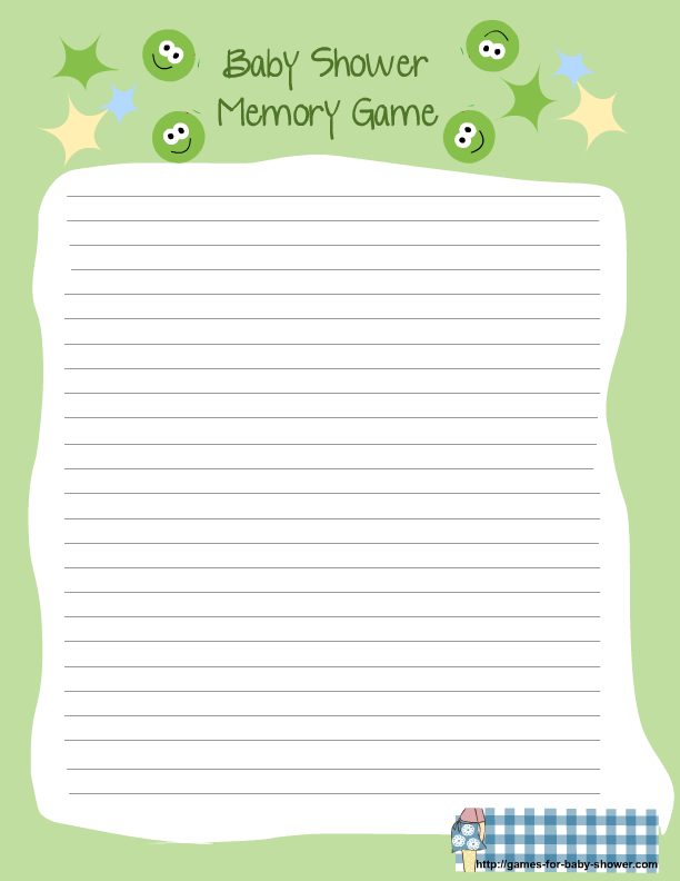 Marvelous Baby Shower Memory Game Template Part - 2: Free Printable For Baby Shower Memory Game In Green Color