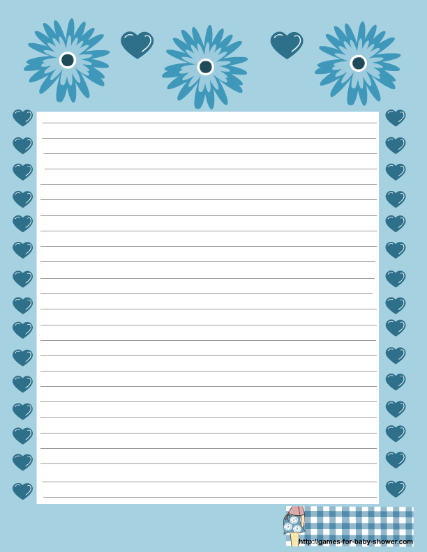 free printable baby shower stationery in blue color
