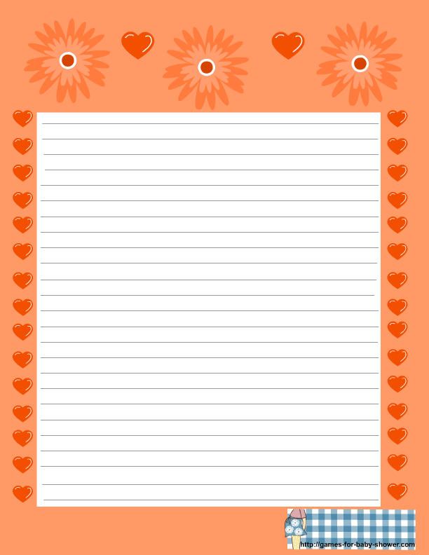 free printable baby shower stationery in orange color
