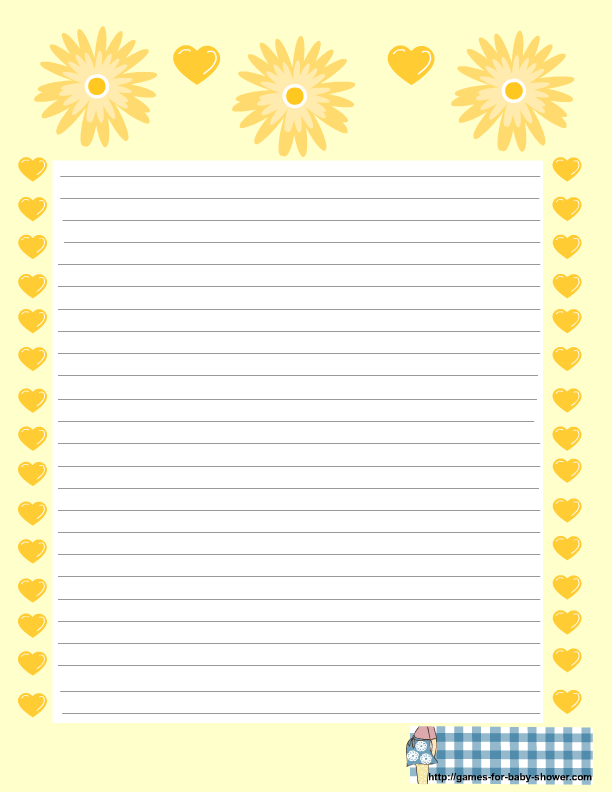 baby shower stationery in brown yellow orange and green colors