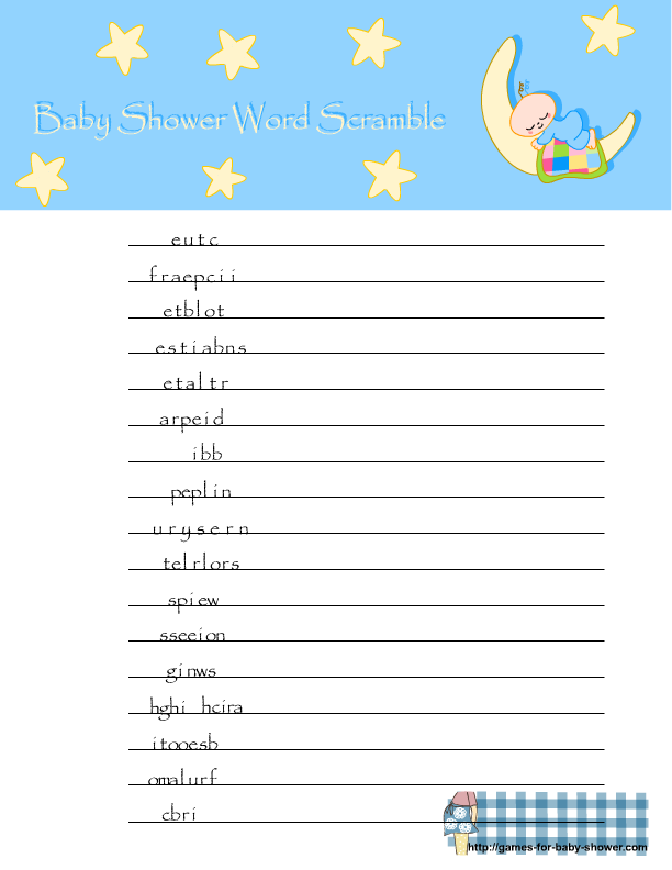 Free Printable Baby Shower Word Scramble Game In Blue Color
