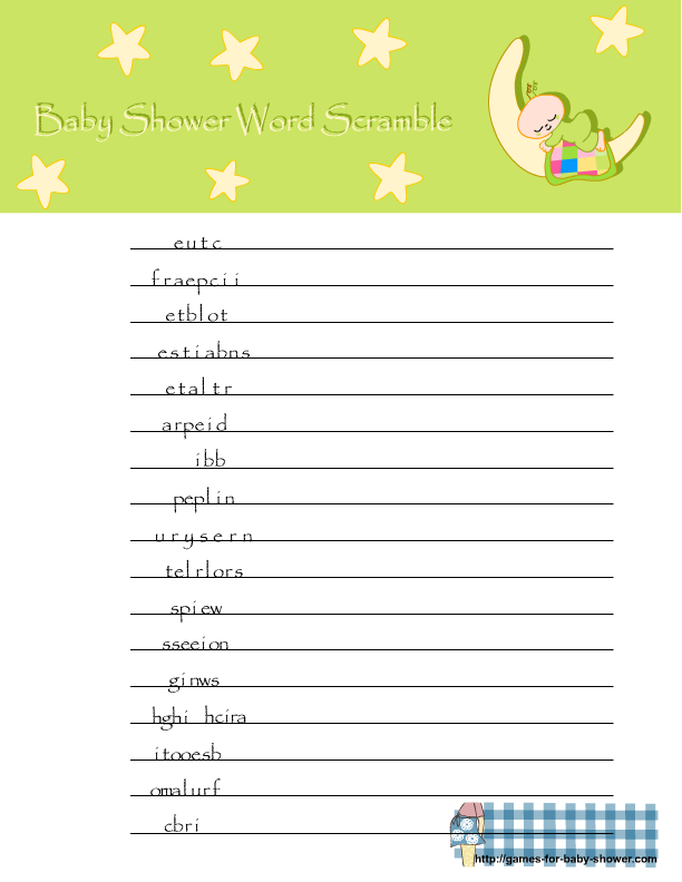 Free Printable Baby Shower Word Scramble In Green Color