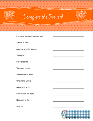 complete the proverb game for baby shower in orange color