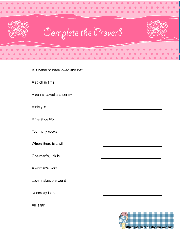 Superb Free Printable Baby Shower Complete The Proverb Game In Pink Color