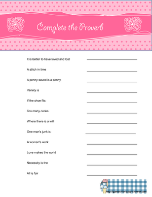 free printable baby shower complete the proverb game in pink color