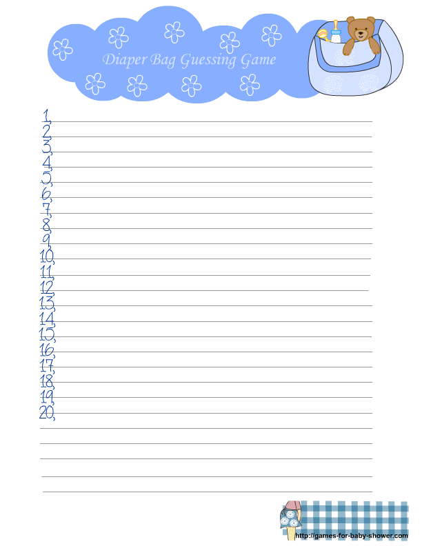 free printable diaper bag guessing game for baby shower in blue color