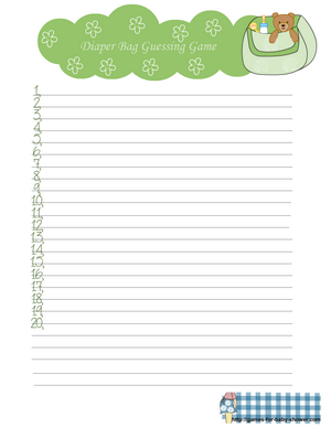 free printable diaper bag guessing game in green color