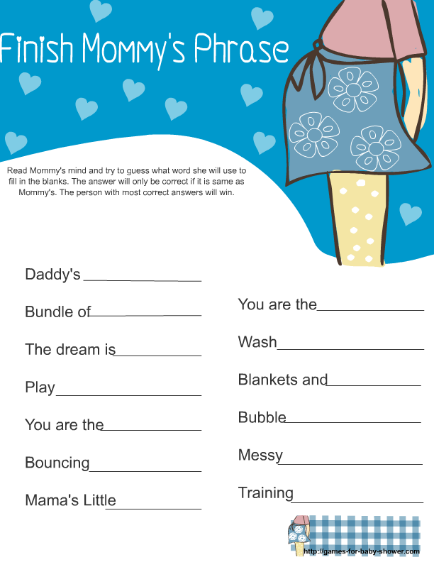 Free Printable Baby Shower Finish Mommy S Phrase Game