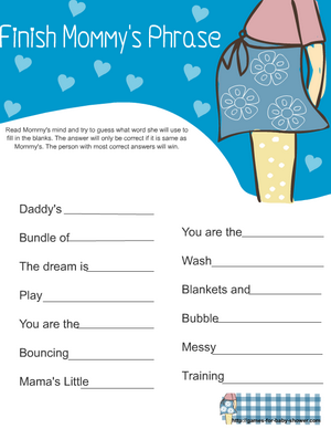 free printable baby shower finish mommy's phrase game in blue color