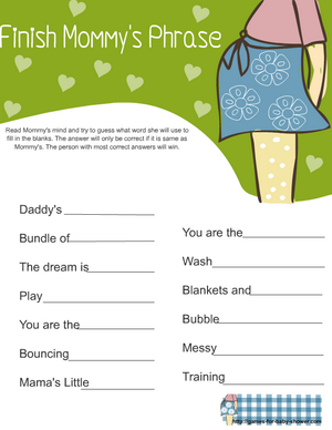 finish mommy's phrase game printable in green color