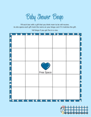 free printable baby shower gift bingo game in blue color