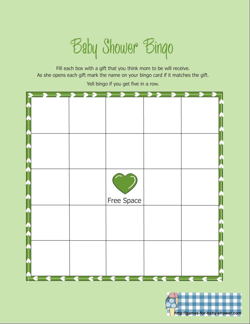 Free Printable Baby Shower Gift Bingo Game