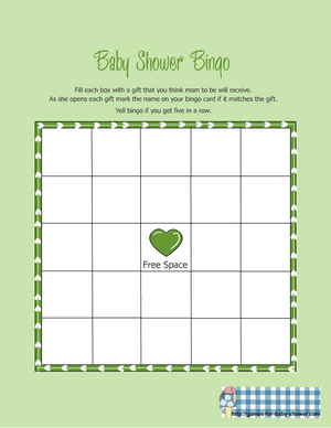baby shower gift bingo in green color