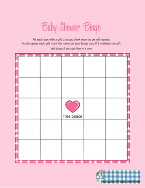 free printable baby shower gift bingo game in pink color