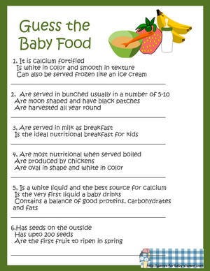 guess the baby food name game printable in green color