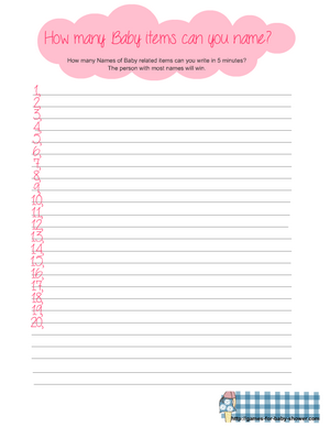 how many baby items can you name free printable in pink color