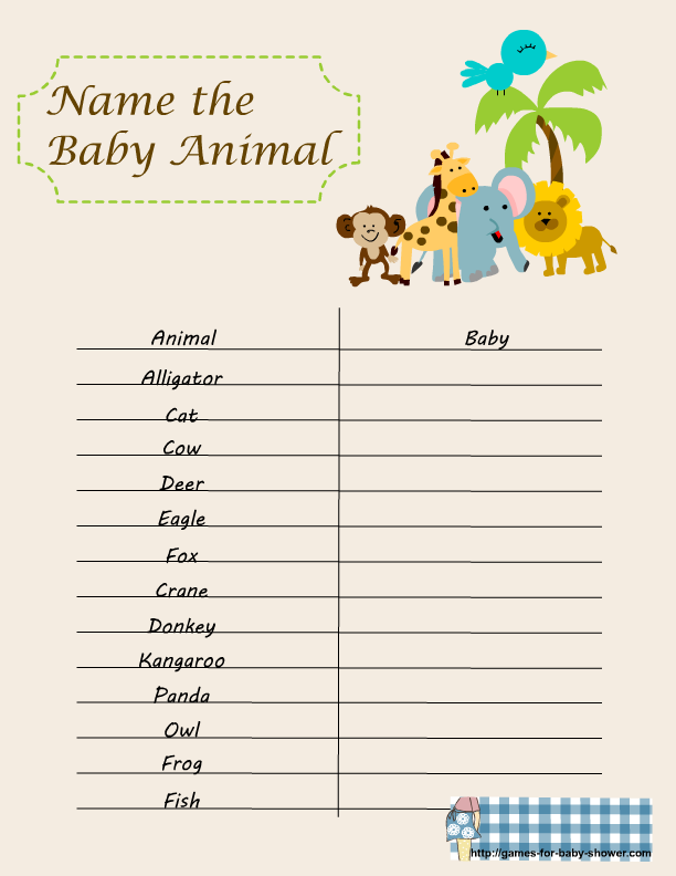 name the baby animal game for baby shower baby shower games animal ...