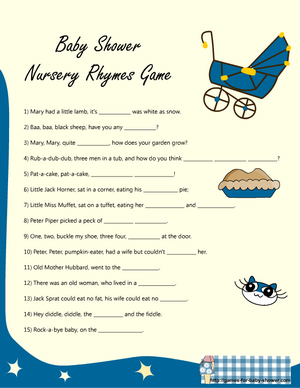 baby shower complete the nursery rhyme game printable in blue
