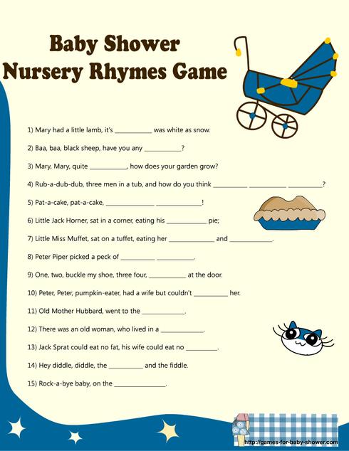 Free Printable Baby Shower Nursery Rhyme Games