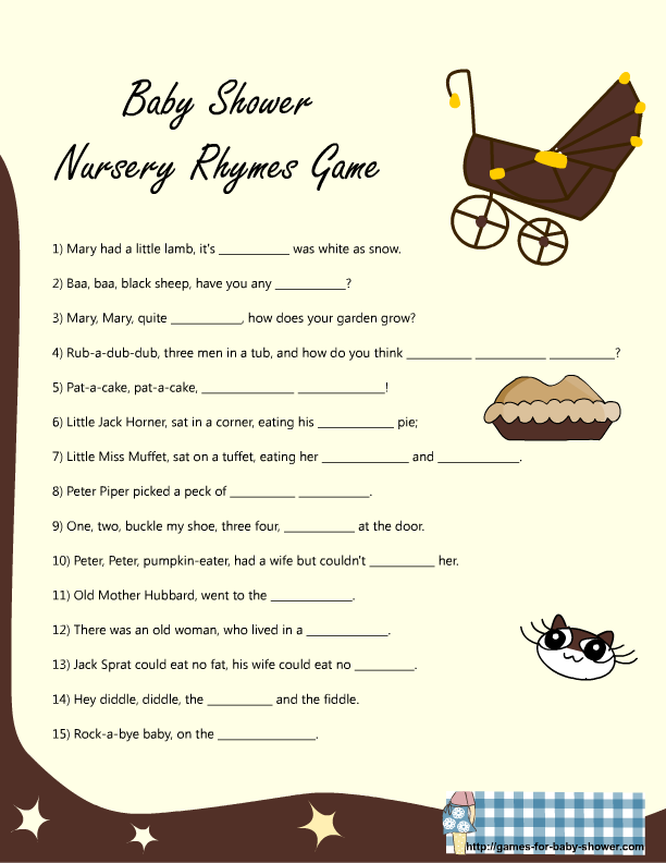 Baby Shower Pass The Parcel Story Part - 23: Nursery Rhyme Game For Baby Shower In Brown Color