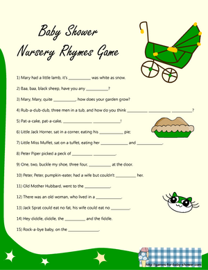 Nursery rhyme game for baby shower in green color