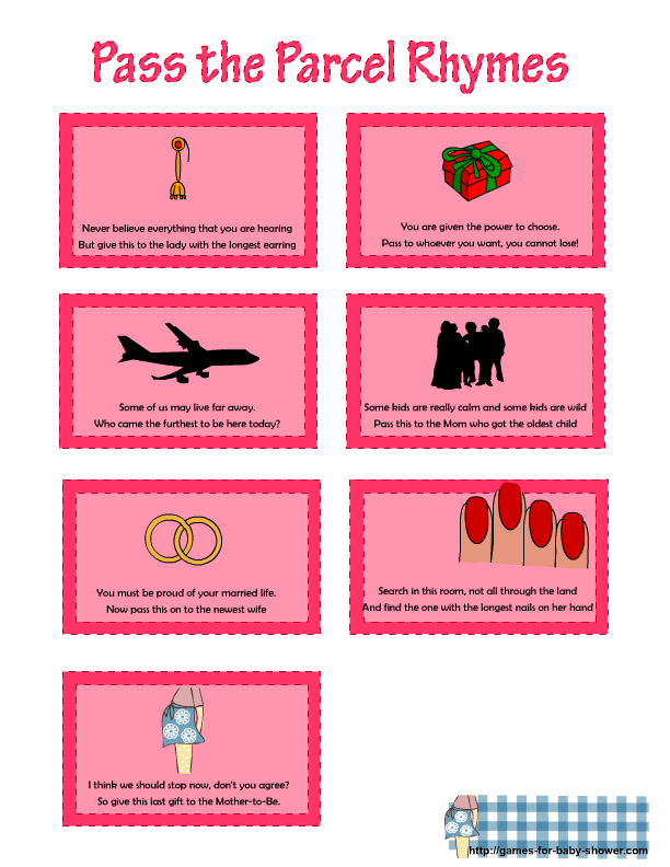 pass the parcel printable rhymes in pink