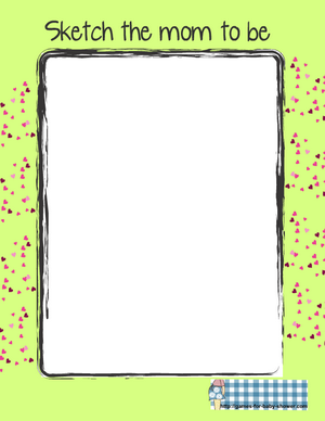 sketch the mom to baby baby shower game printable in green