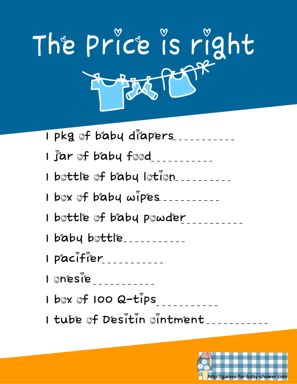 price is right baby shower game in blue color