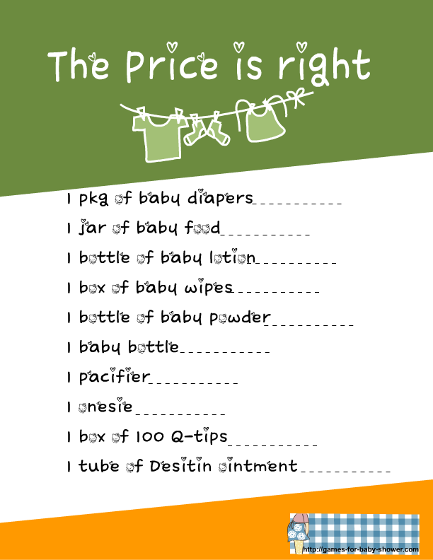 free printable price is right game for baby shower in green color