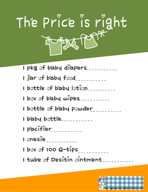 price is right printable game in green color