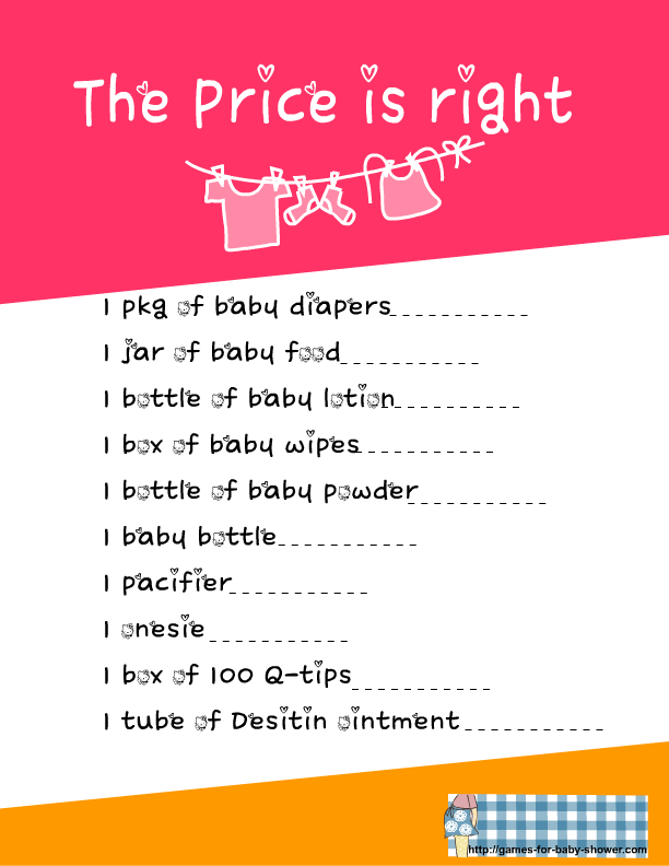 graphic about Baby Shower Price is Right Printable known as No cost Printable Rate is Specifically Activity for boy or girl Shower