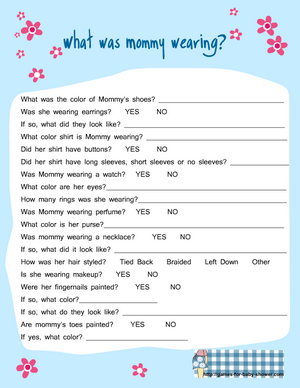 free printable what was mommy wearing game for baby shower in blue color