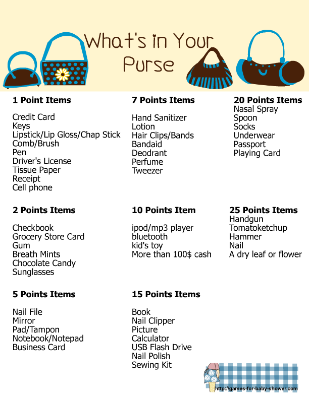 image regarding What's in Your Purse Free Printable named Whats inside Your Purse, Cost-free Printable youngster Shower Video game