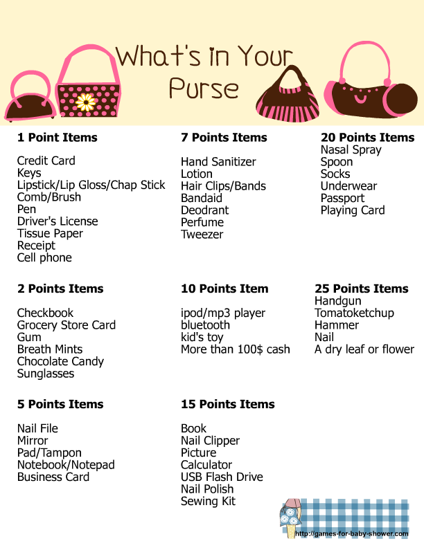 Whats In Your Purse Free Printable For Baby Shower