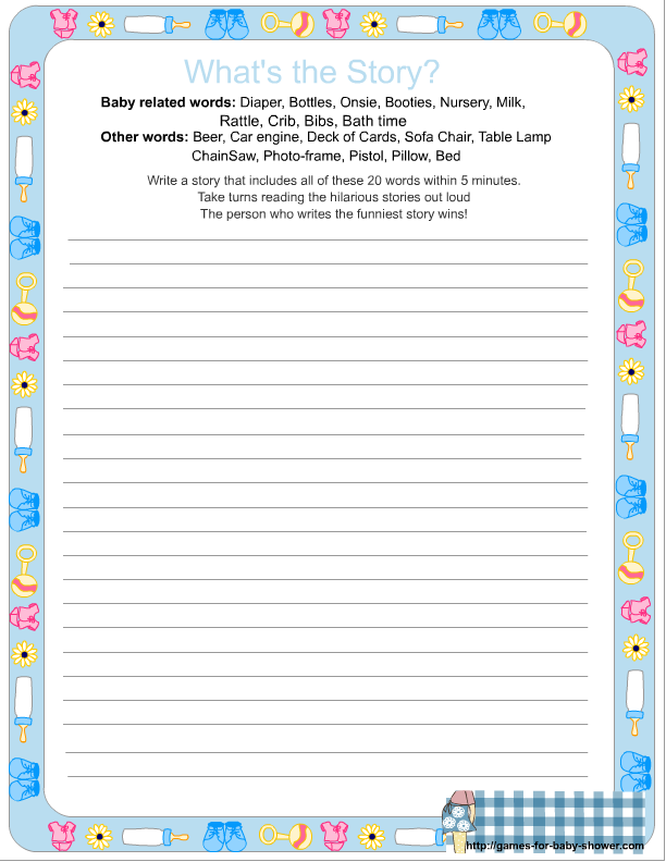 what 39 s the story baby shower game printable in blue color