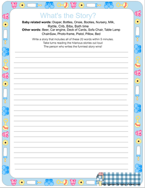 free printable baby shower what's the story game
