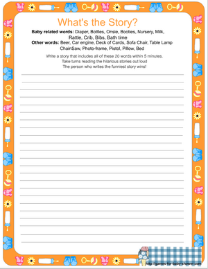 free printable what's the story game for baby shower in orange color