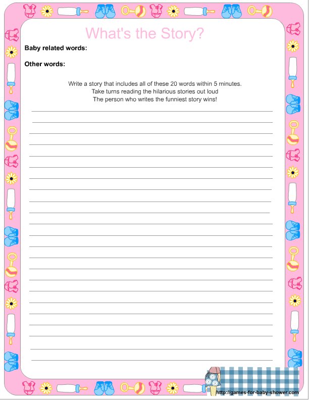 Printables Free Baby Shower Games Printable Worksheets whats the story free printable baby shower game click here if you want to get version of this in pink color where can choose and write your own words