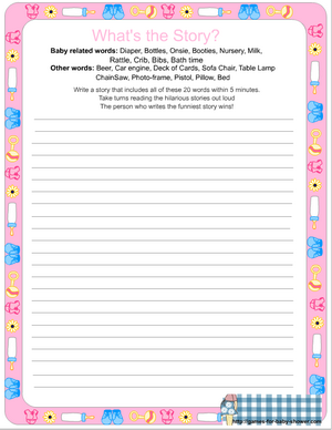 free printable whats the story baby shower game in pink color