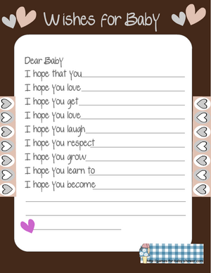 free printable wishes for baby game in brown color