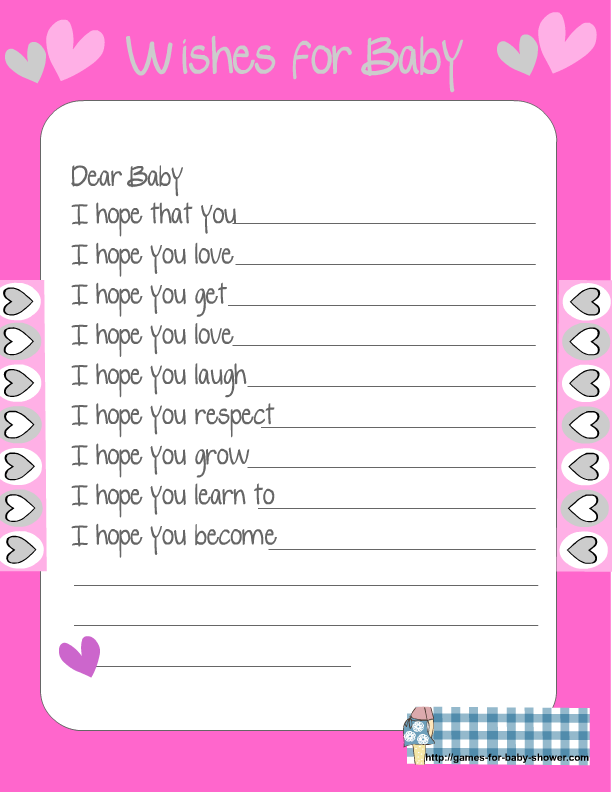 baby shower wishes for the baby game baby shower games wishes for baby ...