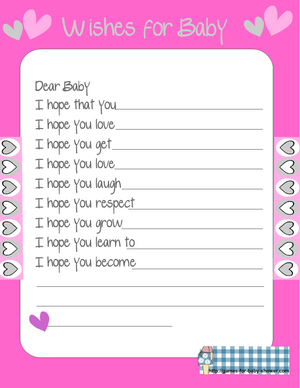 free printable wishes for baby card in pink color